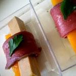 Fagots de foie gras, magret séché et mangue – Les recettes de Flo